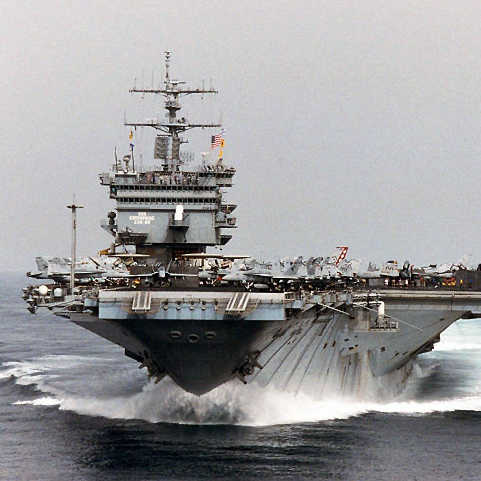 "USS Enterprise sails in the Persian Gulf while in support of Operation Southern Watch and the extended ""no-fly"" zone over Iraq on Sept. 22, 1996."