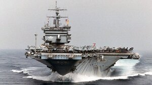 """USS Enterprise sails in the Persian Gulf while in support of Operation Southern Watch and the extended """"no-fly"""" zone over Iraq on Sept. 22, 1996."""