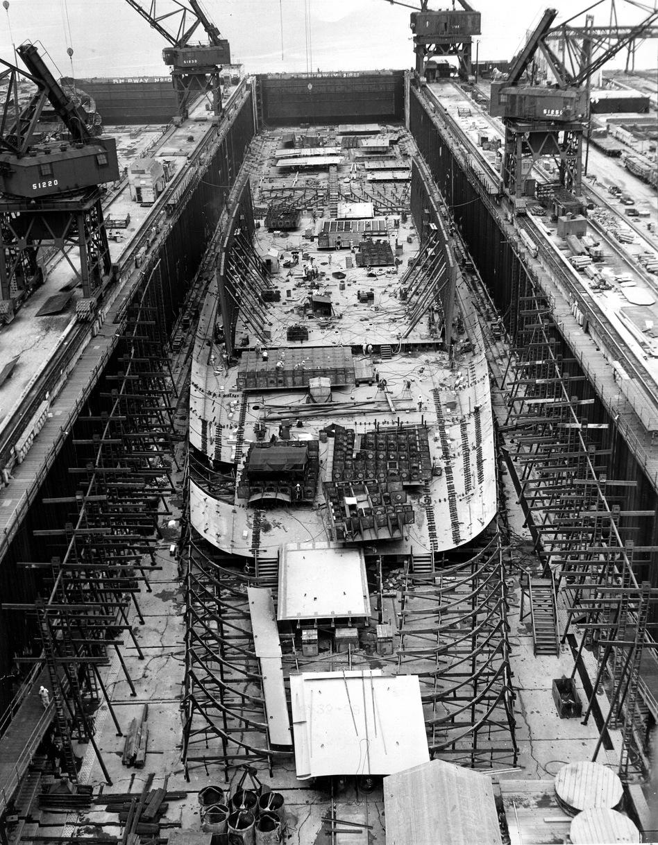 The Enterprise under construction in 1958. (U.S. Navy)