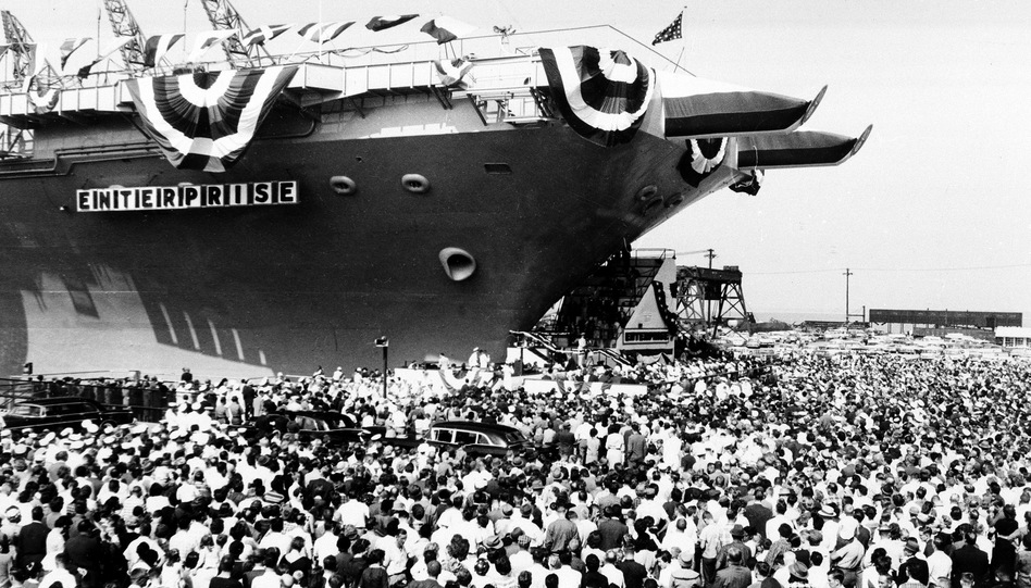 A throng estimated at 15,000 gathers to watch the christening of the USS Enterprise at Newport News, Va., Sept. 24, 1960. (AP)