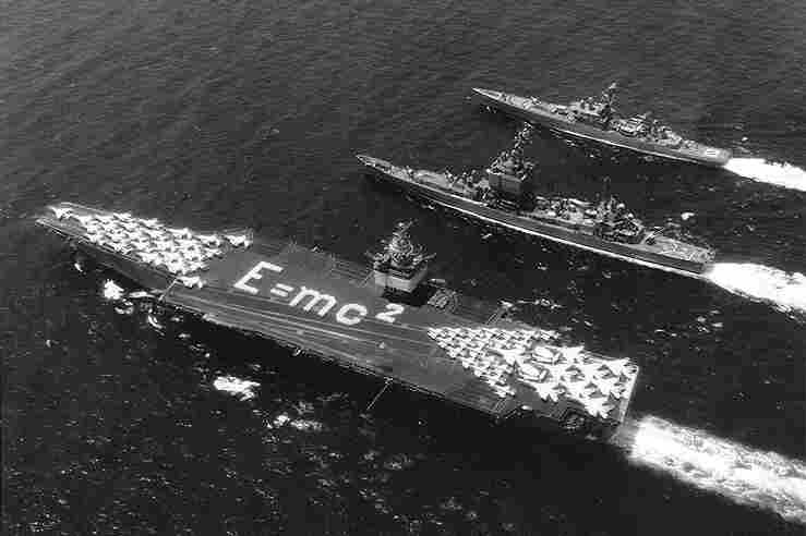 Occasionally members of Enterprise's crew create flight formations to commemorate important dates or events. In 1964 they spelled out Albert Einstein's most famous equation.