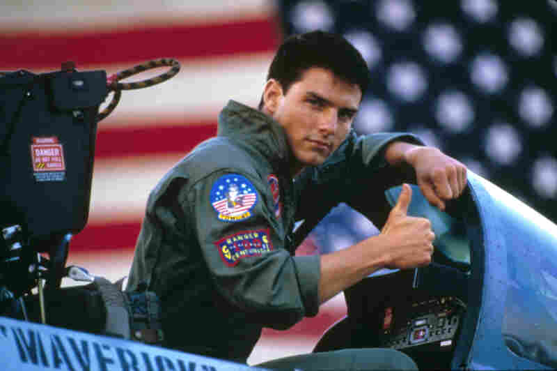 Actor Tom Cruise on the set of Top Gun, which filmed the USS Enterprise in 1986.
