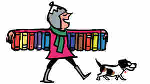 Illustration: A woman walks down the street with an armful of books.