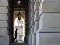 Treasury Secretary Timothy Geithner as he arrived at the Capitol on Thursday for negotiations with congressional leaders.