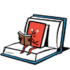 Illustration of a book sitting on a book, reading a book.