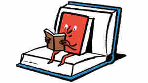 Illustration of a book, sitting in a book, reading another book.