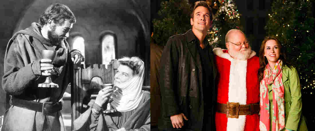 On the left, Peter O'Toole and Katharine Hepburn in A Lion In Winter. On the right, the cast of Hallmark's Matchmaker Santa.