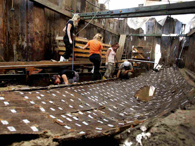 Archaeologists in Istanbul work on the remnants of a Byzantine-era ship in June 2006.