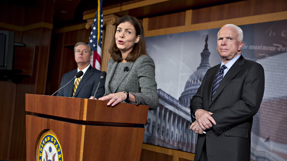 Sen. Kelly Ayotte, joined by Sen. Lindsey Graham and Sen. John McCain, discusses the attack on the U.S. Consulate in Benghazi, Libya, on Capitol Hill earlier this month. (AP)
