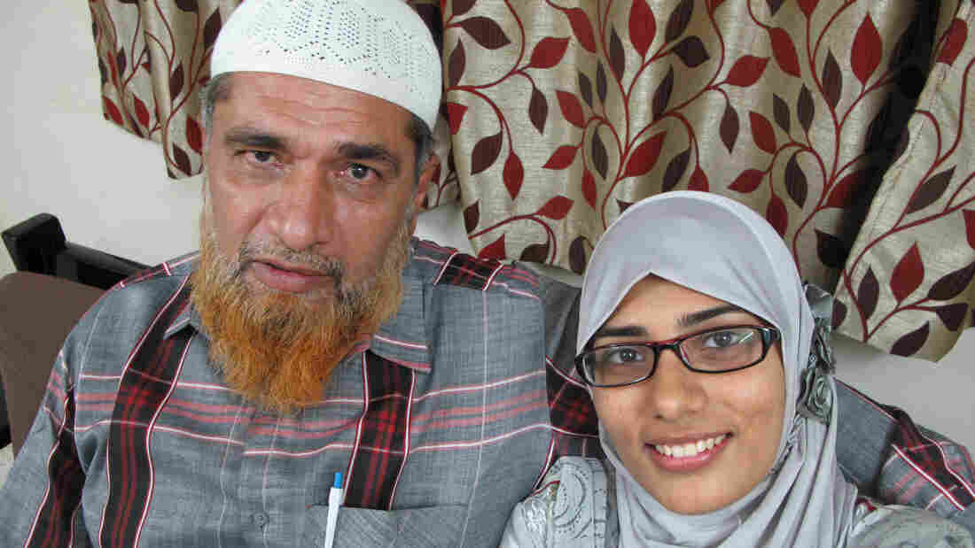 """The case against Shaheen Dhada has set off a free-speech debate in India. Her father, Farooq Dhada, shown here with her, says in India, freedom of speech """"exists only on paper."""""""