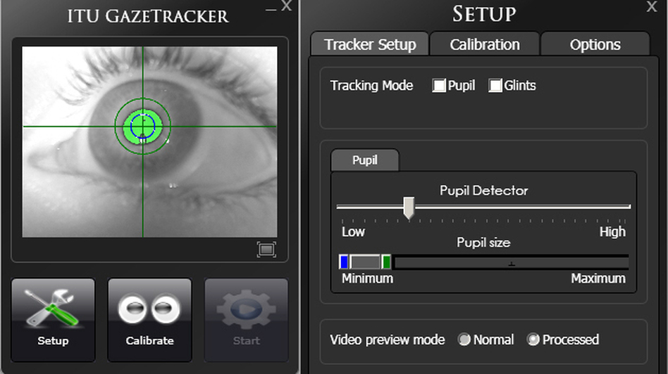 The open-source software produced by the Gaze Group uses infrared light to track the pupils of users' eyes, allowing them to control the cursor on a mobile or desktop computer. ( Gaze Group)