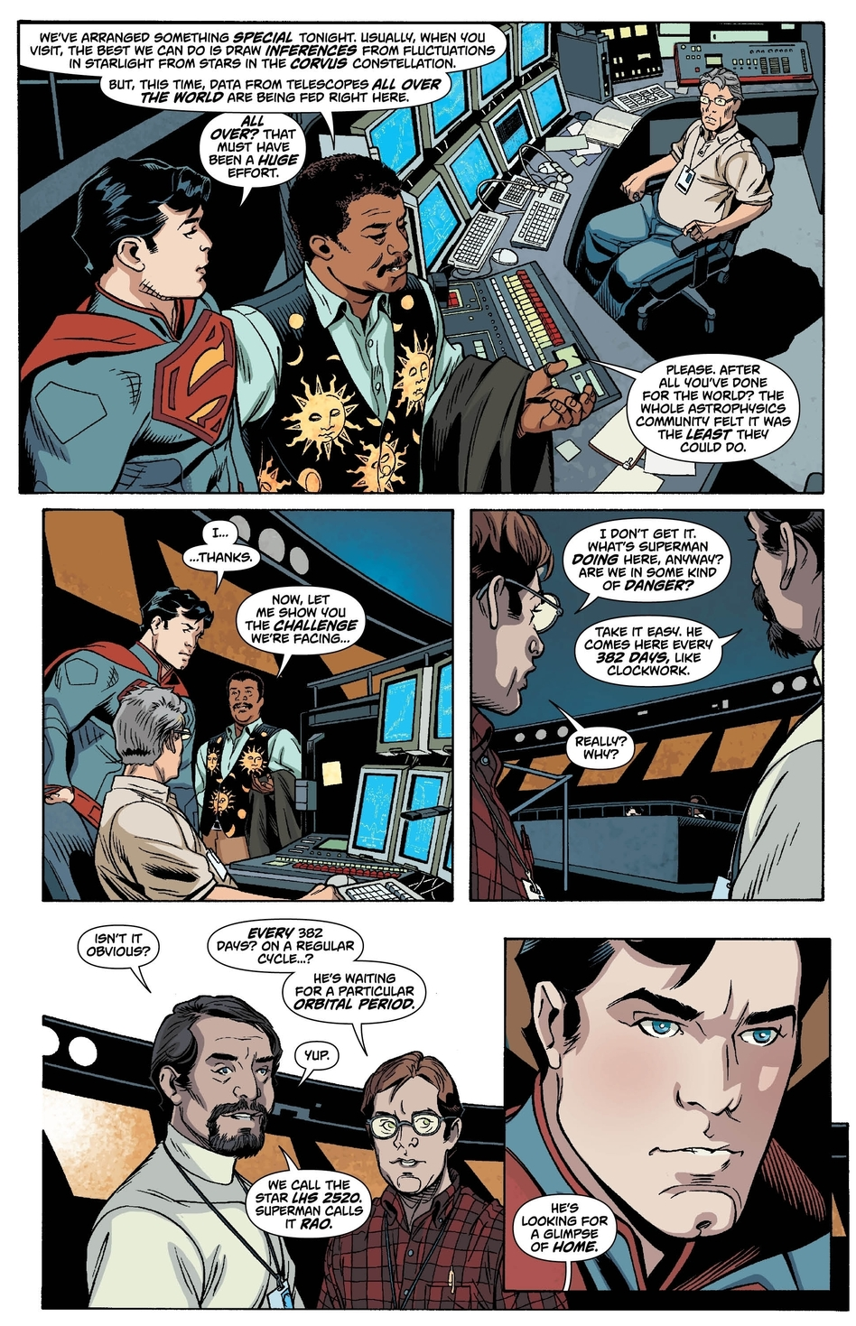 Superman is overwhelmed by the generosity of the scientists at the Hayden Planetarium. (DC Comics)