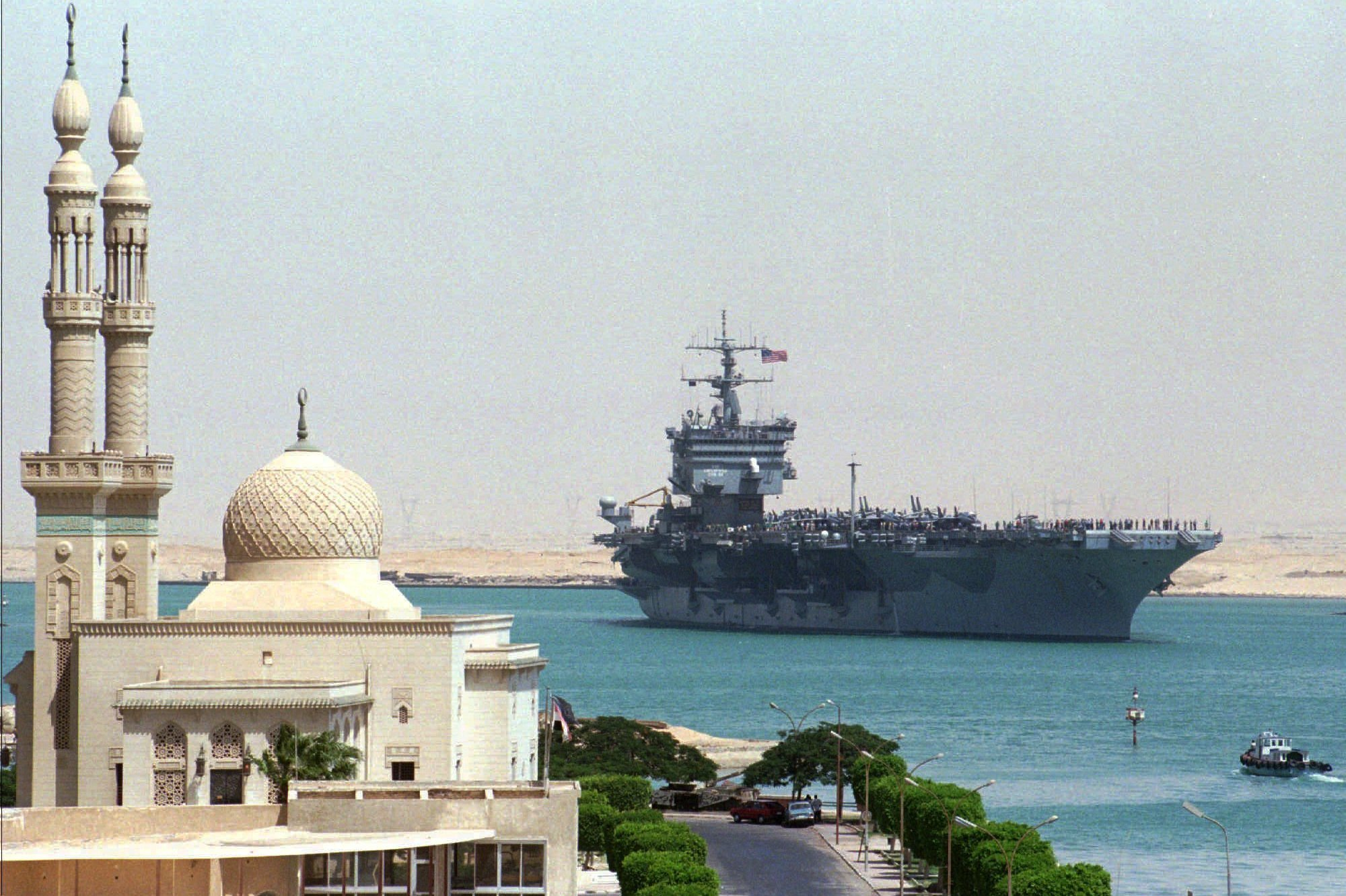The Enterprise transits the Suez Canal on Sept. 15, 1996. The aircraft carrier was en route from the Adriatic to join existing U.S. forces in the Persian Gulf for possible action against Iraqi targets.