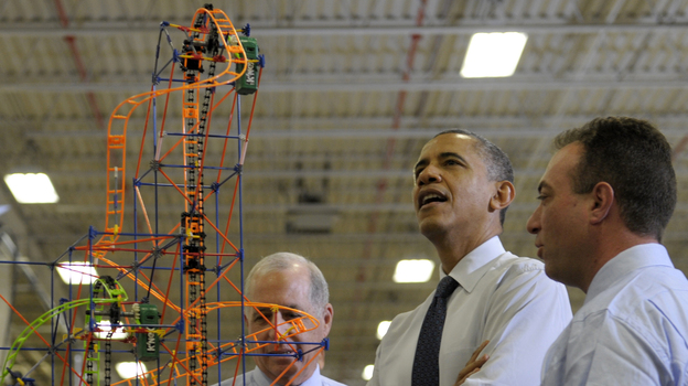 President Obama looks over a roller coaster with K'Nex inventor and Chairman Joel Glickman (left) and President and CEO Michael Araten on Friday during a tour of the company in Hatfield, Pa. (AP)