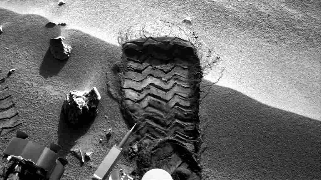 "NASA's Mars rover Curiosity cut a wheel scuff mark into a wind-formed ripple at the ""Rocknest"" site to give researchers a better opportunity to examine the particle-size distribution of the material forming the ripple."
