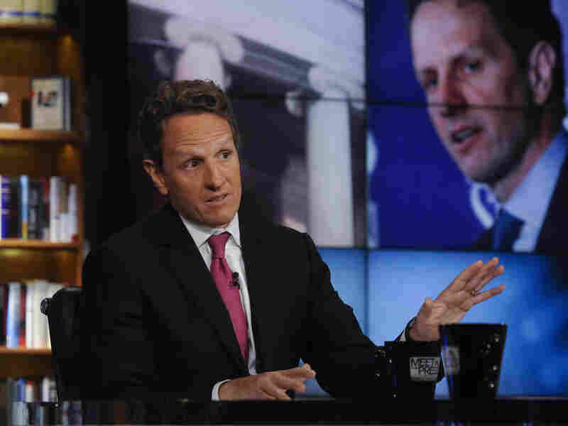 "Treasury Secretary Timothy Geithner, seen here on NBC's Meet the Press on July 10, 2011, took to the Sunday talk shows to make the administration's case on the negotiations over the ""fiscal cliff."""