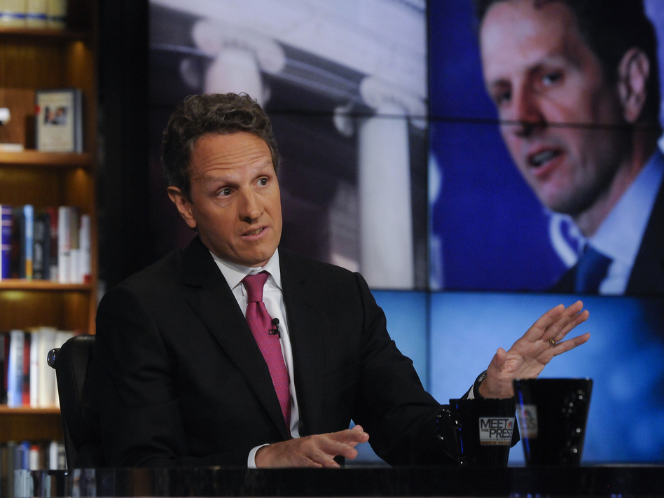 "Treasury Secretary Timothy Geithner, seen here on NBC's <em>Meet the Press</em> on July 10, 2011, took to the Sunday talk shows to make the administration's case on the negotiations over the ""fiscal cliff."""