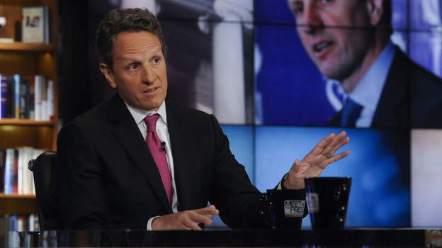 "Treasury Secretary Timothy Geithner, seen here on NBC's Meet the Press on July 10, 2011, took to the Sunday talk shows to make the administration's case on the negotiations over the ""fiscal cliff."" (AP)"