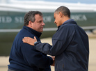President Obama is greeted by New Jersey Gov. Chris Christie in Atlantic City, N.J., on Oct. 31 before visiting areas hardest hit by Superstorm Sandy.