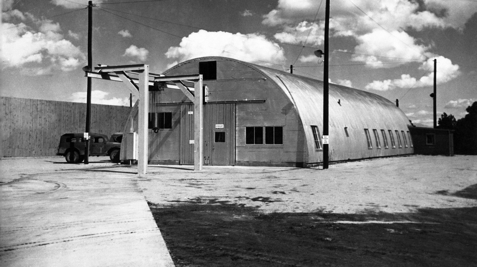 "A Quonset hut on the grounds of the Los Alamos National Lab in New Mexico where ""Fat Man"" was assembled in World War II. Fat Man was the nickname given to the atomic bomb dropped on Nagasaki, Japan, on Aug. 9, 1945. The hut would be part of a new Manhattan Project National Park. (Historical photograph courtesy of Los Alamos National Laboratory)"