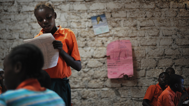 A schoolgirl participates in a lesson in Kilifi, about 30 miles northeast of Mombasa on Kenya's Swahili Coast, in 2010. (AFP/Getty Images)