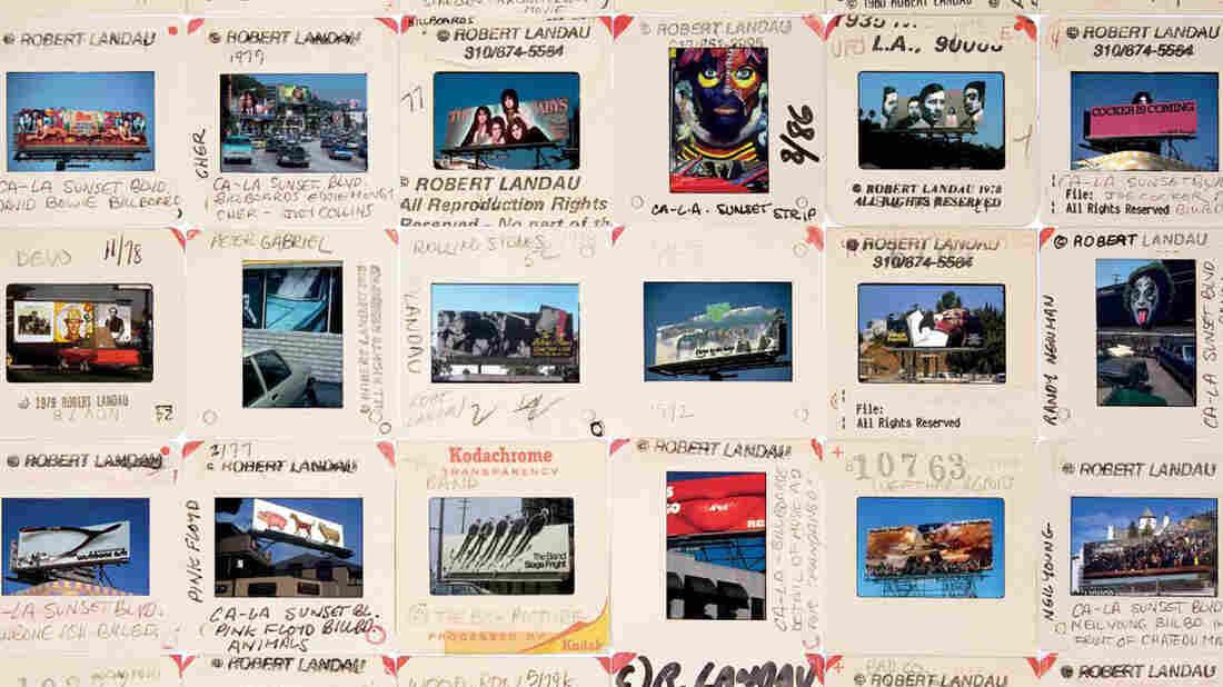 A few of Robert Landau's Kodachrome slides from Rock 'N' Roll Billboards of the Sunset Strip.