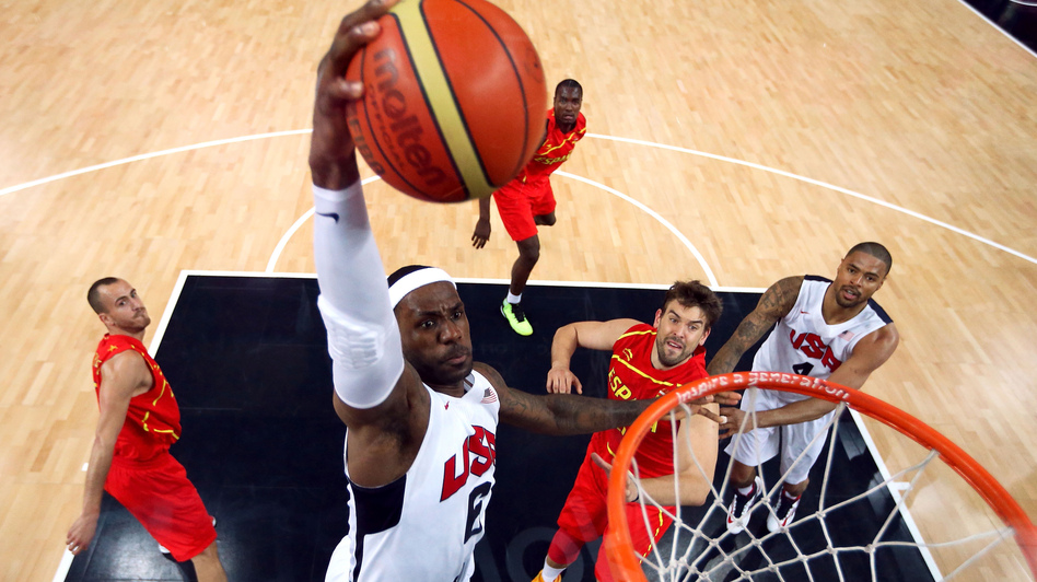 LeBron James, during last summer's Olympics in a game against Spain. (AFP/Getty Images)