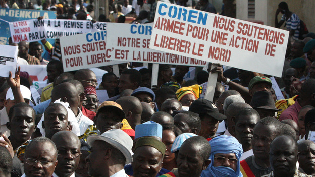 People originally from northern Mali carry signs that call for military action to retake that part of the country, now under the control of Islamist militants. The rally was held in Mali's capital, Bamako, in October. (AP)