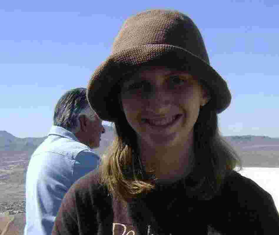 Bridget Hughes and her hat, before it went missing.