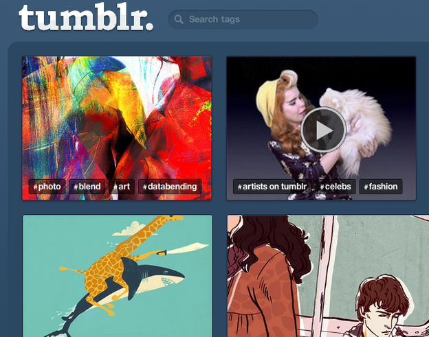 A screenshot of the Tumblr homepage.