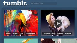A screenshot of the Tumblr homepage.