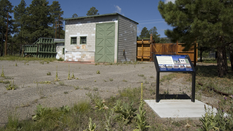 "The restored building where the ""Gadget"" atomic bomb was assembled would be included in the Manhattan Project National Park. Gadget was the nickname given to the first nuclear bomb, tested at Trinity Site, N.M., in July 1945. (Courtesy of Los Alamos National Laboratory)"