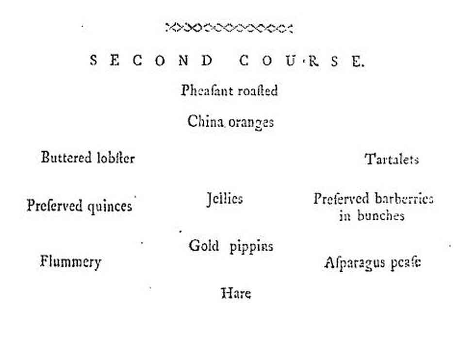 Bills of Fare for a typical wealthy person's second course in the month of January, originally published by Mary Smith of Newcastle, in her 1772 book, The complete house-keeper and professed cook.