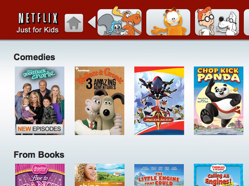 A promotional image for the Netflix Just for Kids portal. The new deal announced with Disney is the first time that one of Hollywood's major studios has sold the coveted rights to Netflix Inc. instead of a premium TV network.