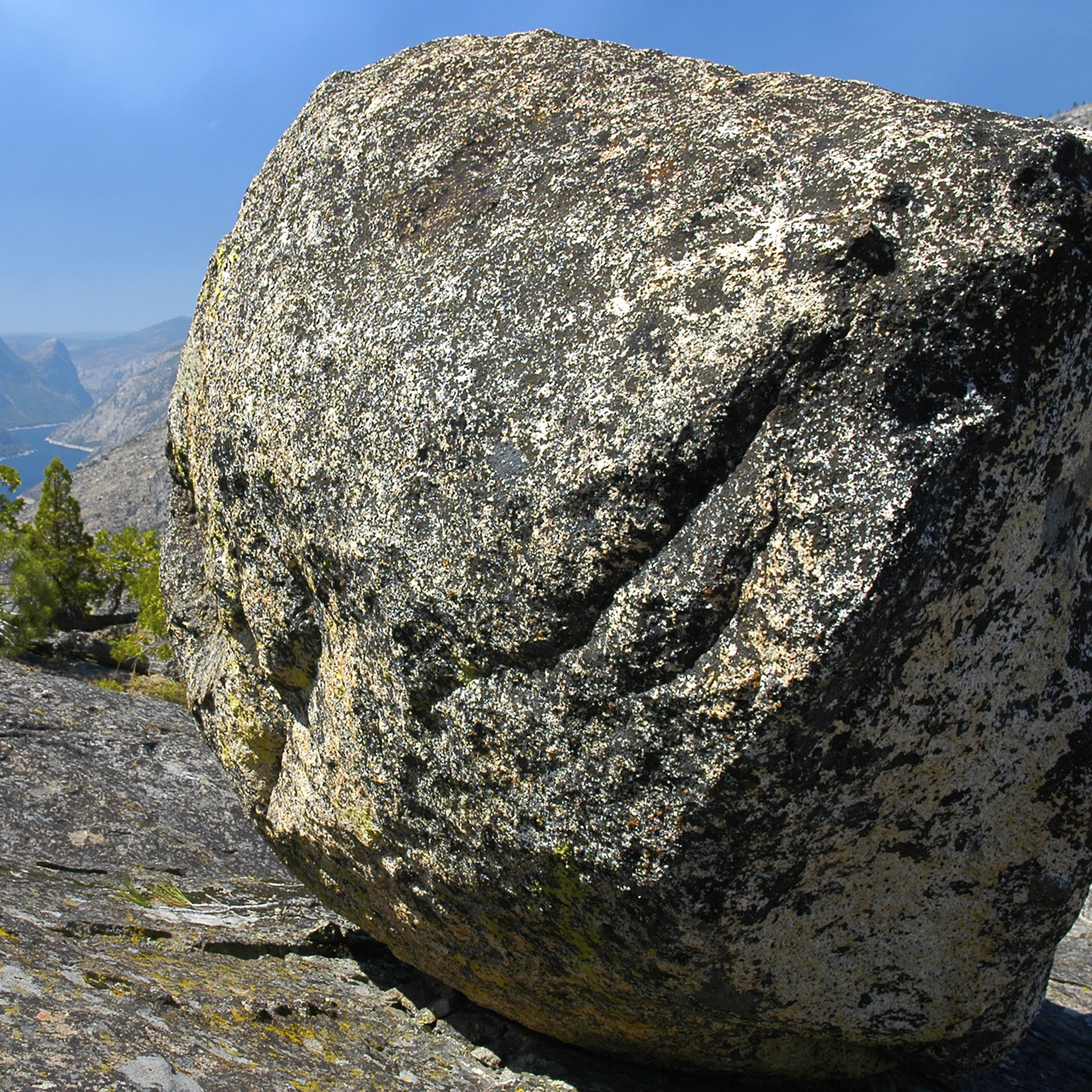 A glacial erratic with the Hetch-Hetchy Reservoir in the background.