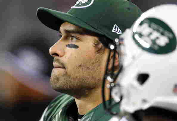 Quarterback Mark Sanchez of the New York Jets looks on near the end of the game against the New England Patriots Nov. 22.