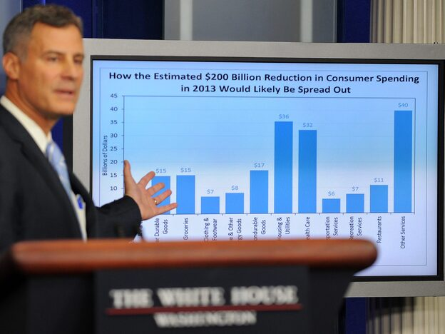 Alan Krueger, chairman of the president's Council of Economic Advisers, warns that consumer spending will drop if Congress and the White House fail to reach a deal on spending cuts and tax increases.