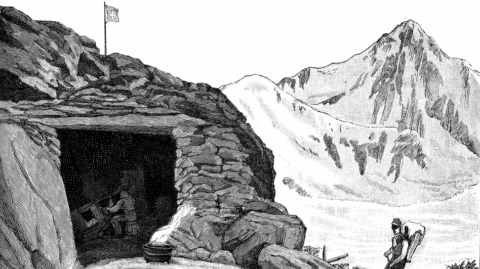 "Louis Agassiz, at the""Hotel de Neuchatelois,"" shelter he built around a huge boulder on the Aar glacier, Switzerland, during his 1840 expedition. (Getty Images)"
