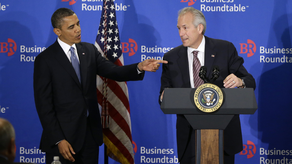 President Obama is introduced to the Business Roundtable by Boeing CEO Jim McNerney in Washington on Wednesday. (AP)