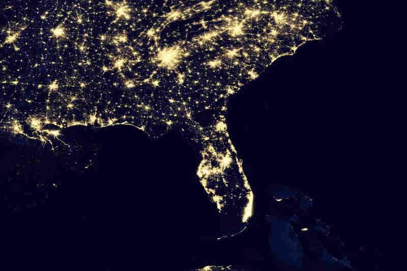 Us Map At Night Globalinterco - Satellite map of se us at night