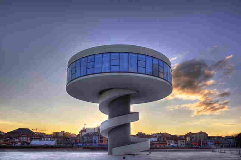 Oscar Niemeyer International Cultural Center of Asturias, Spain, built in 2006.