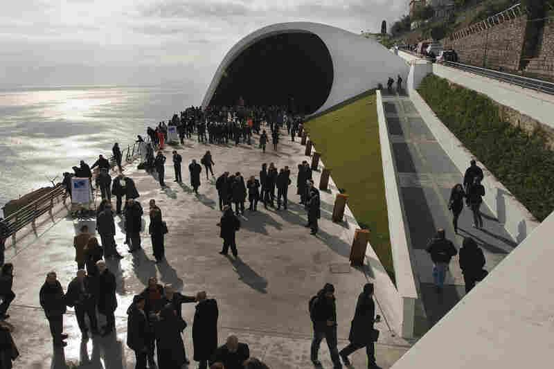 Auditorium Oscar Niemeyer in Ravello, Italy, on the day of its inauguration.