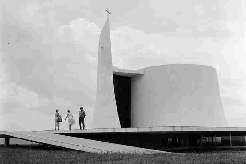 A church, pictured circa 1955 on the grounds of the presidential palace, is connected to the palace by an underground hallway.