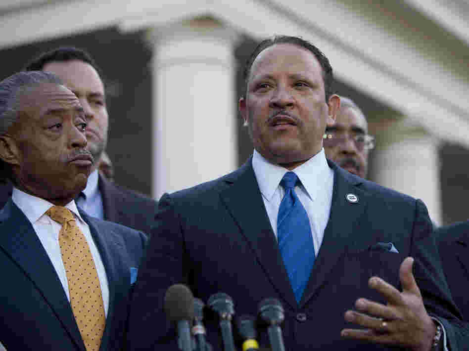 The National Urban League's Marc Morial (center) joins other civic leaders speaking outside the White House after they met with President Obama last month.