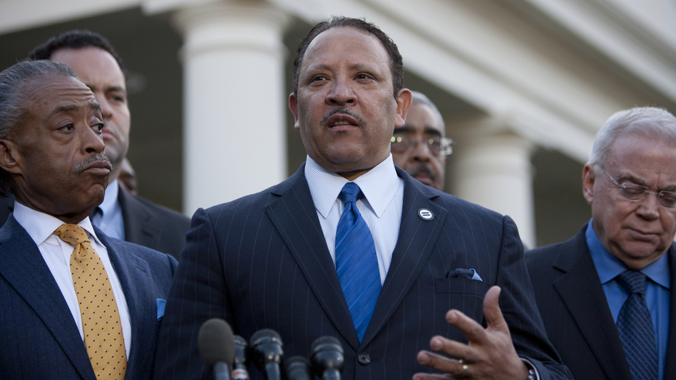 The National Urban League's Marc Morial (center) joins other civic leaders speaking outside the White House after they met with President Obama last month. (AFP/Getty Images)