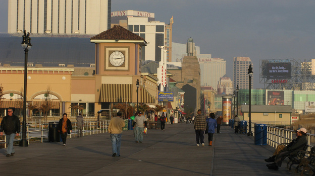 Atlantic City's boardwalk, with its shops, restaurants, casinos and hotels, was mostly protected during Hurricane Sandy by a dune restoration project. But TV images of one small section that was damaged gave the impression that the whole thing was destroyed. (David Schaper/NPR)