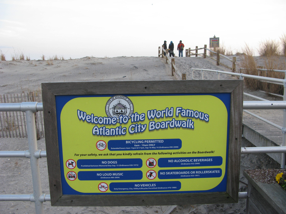 Rumors of the demise of Atlantic City's boardwalk were greatly exaggerated — only a small part was damaged. Now city and tourism officials are trying to draw people back. (David Schaper/NPR)