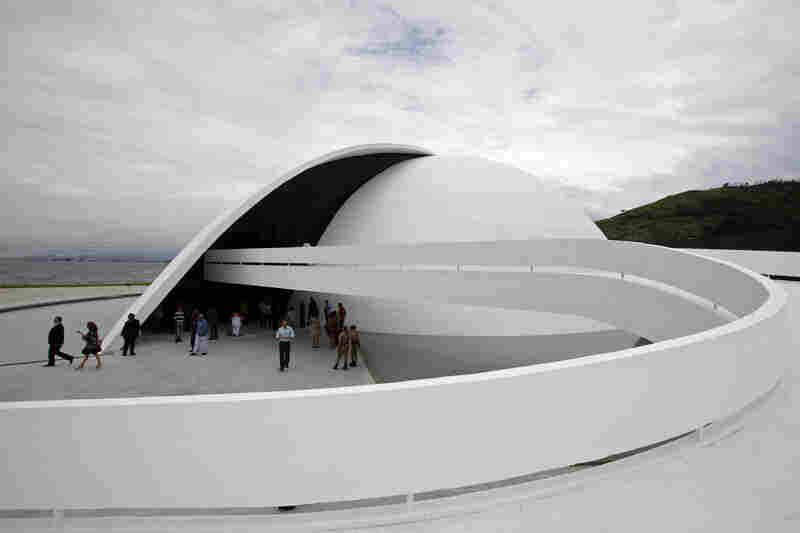 The inauguration of the Oscar Niemeyer foundation building in Niteroi, Brazil, 2010.