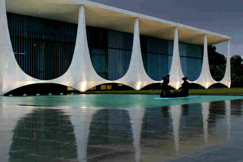 By the late 1950s, Kubitschek was president of Brazil, and he invited Niemeyer to design many of the civic buildings in the country's new capital of Brasilia, including the Palacio da Alvorada, the official residence of Brazilian presidents, pictured here in 2006.