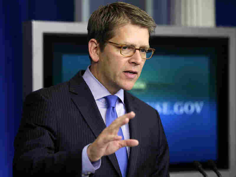 "White House spokesman Jay Carney briefs reporters Thursday at the White House. ""This administration does not believe the 14th Amendment gives the president the power to ignore the debt ceiling — period,"" he said."